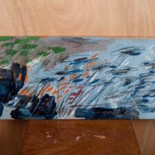 Receptor Fied (Blue), 2017. Mixed-media on wood, 28 x 67cm.