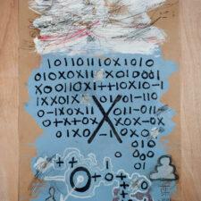 Self-destruction is eminent, 2017. Mixed-media on paper, 89 x 59cm.