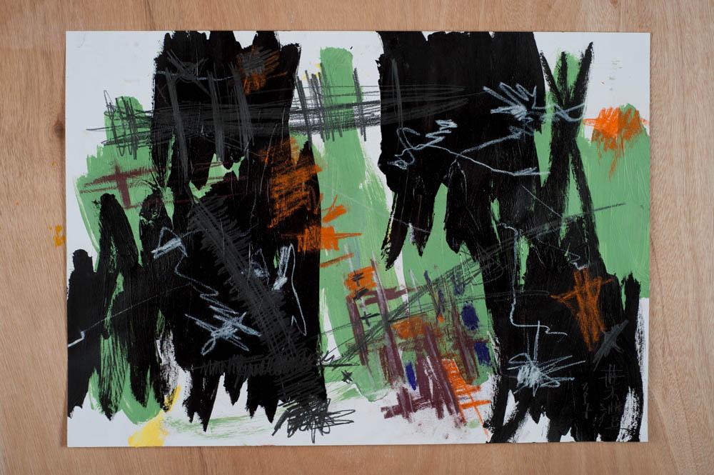 Synaptic Hard Wiring, No. 2, 2017. ed-media on paper, 42 x 59cm.