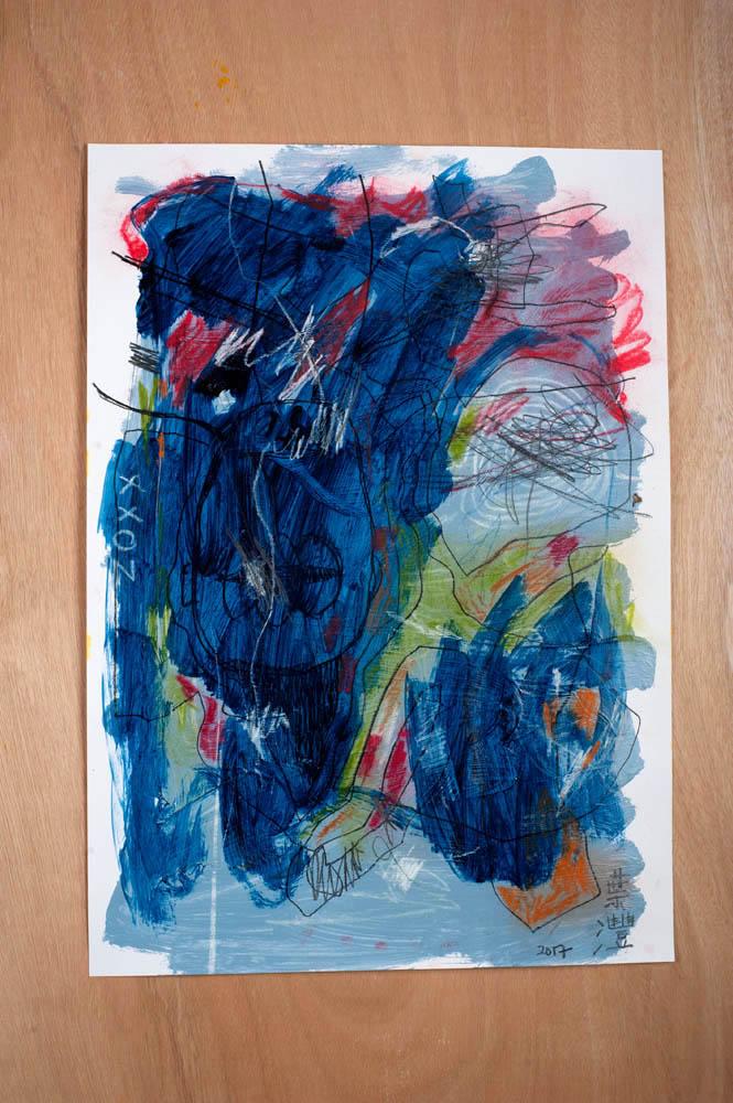 Temper tantrum in the cerebral cortex, No. 1 2017, ex, No. 2,  2017, Mixed-media on paper, 59 x 42cm.