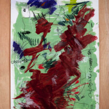 Temper tantrum in the cerebral cortex, No. 2,  2017, Mixed-media on paper, 59 x 42cm. Artist Yipfung